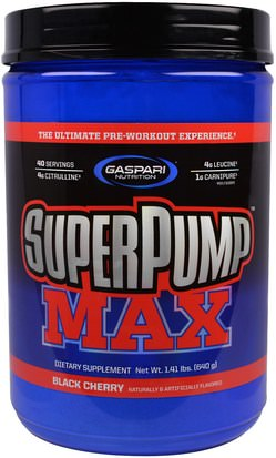 Deportes, Entrenamiento Gaspari Nutrition, SuperPump Max, The Ultimate Pre-Workout Experience, Black Cherry, 1.41 lbs (640 g)