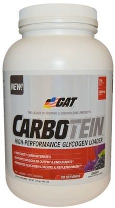 Deportes, Entrenamiento, Deporte GAT, Carbotein, Grape, 50 Servings, 1.75 kg (3.85 lbs)