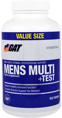 Vitaminas, Hombres Multivitaminas, Hombres, Testosterona GAT, Mens Multi + Test, 150 Tablets