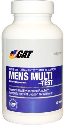 Vitaminas, Hombres Multivitaminas, Hombres, Testosterona GAT, Mens Multi + Test, 60 Tablets