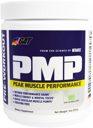 Deportes, Entrenamiento, Músculo GAT, PMP, Pre-Workout, Peak Muscle Performance, Green Apple, 9 oz (255 g)