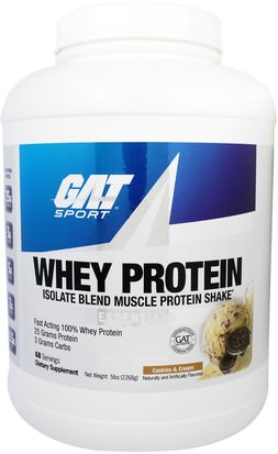 Suplementos, Proteína, Músculo GAT, Whey Protein Isolate Blend Muscle Protein Shake, Cookies & Cream, 5 lbs (2268 g)