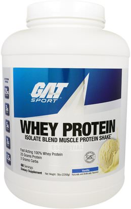 Deportes, Músculo GAT, Whey Protein, Isolate Blend Muscle Protein Shake, Vanilla, 5 lbs (2268 g)