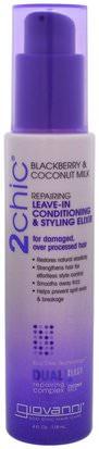 Baño, Belleza, Cabello, Cuero Cabelludo Giovanni, 2Chic, Repairing Leave-In Conditioning & Styling Elixir, for Damaged Over Processed Hair, Blackberry & Coconut Milk, 4 fl oz (118 ml)