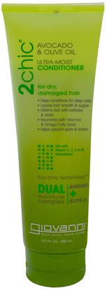 Baño, Belleza, Cabello, Cuero Cabelludo Giovanni, Ultra-Moist Conditioner, for Dry, Damaged Hair, Avocado & Olive Oil, 8.5 fl oz (250 ml)