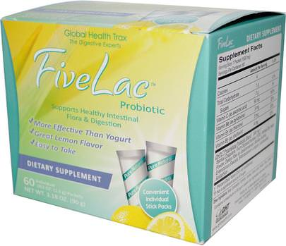 Suplementos, Probióticos, Probióticos Estabilizados Global Health Trax, FiveLac Probiotic, Lemon Flavor, 60 Packets.053 oz (1.5 g) Each