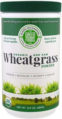 Suplementos, Superalimentos Green Foods Corporation, Organic and Raw Wheatgrass Powder, 16.9 oz (480 g)