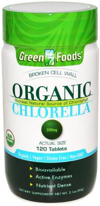 Suplementos, Superalimentos, Chlorella Orgánica Green Foods Corporation, Organic Chlorella, 500 mg, 120 Tablets