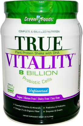 Suplementos, Batidos De Proteínas Green Foods Corporation, True Vitality, Plant Protein Shake with DHA, Unflavored, 22.7 oz (644 g)
