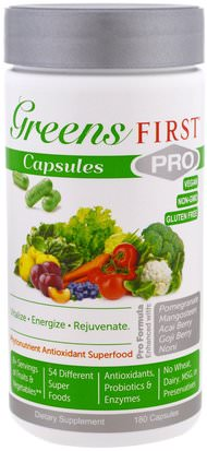 Suplementos, Superalimentos Greens First, PRO Phytonutrient Antioxidant Superfood, 180 Capsules