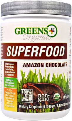 Suplementos, Superalimentos Greens Plus, Organics Superfood, Amazon Chocolate, 8.46 oz (240 g)