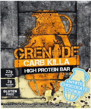 Deportes, Barras De Proteína, Proteína, Proteína Deportiva Grenade, Carb Killa Bars, White Chocolate Cookie, 12 Bars, 2.12 oz (60 g) Each