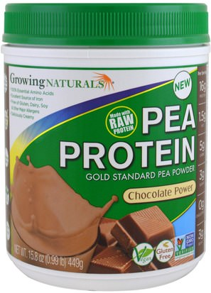 Suplementos, Proteína, Proteína De Guisante Growing Naturals, Pea Protein, Chocolate Power, 15.8 oz (449 g)