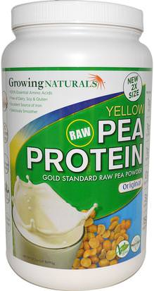 Suplementos, Proteína, Proteína De Guisante Growing Naturals, Yellow Raw Pea Protein, Original, 32.2 oz (912 g)