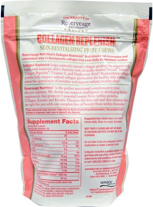 ReserveAge Nutrition, Collagen Replenish, Mixed Fruit Flavor, 60 Soft Chews Salud, Hueso, Osteoporosis, Anti Envejecimiento, Colágeno
