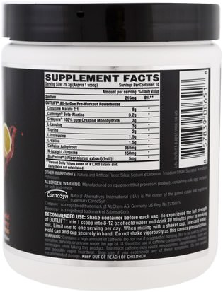 Nutrex Research Labs, Outlift, Clinically Dosed Pre-Workout Powerhouse, Wild Cherry Citrus, 8.92 oz (253 g) Salud, Energía, Deportes