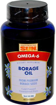 Suplementos, Efa Omega 3 6 9 (Epa Dha), Aceite De Borraja Health From The Sun, Borage Oil, 60 Softgels