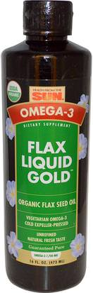 Suplementos, Efa Omega 3 6 9 (Epa Dha), Aceite De Lino Líquido Health From The Sun, Omega-3, Flax Oil, Liquid Gold, 16 fl oz (473 ml)