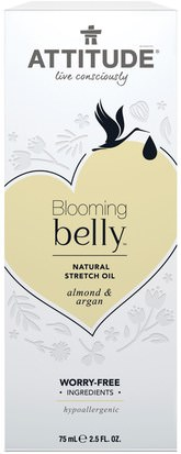 ATTITUDE, Blooming Belly, Natural Stretch Oil, Almond & Argan, 2.5 fl oz (75 ml) Salud, Piel, Cicatrices De Estrías