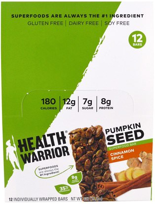 Alimentos, Refrigerios, Bocadillos Saludables, Suplementos, Barras Nutricionales Health Warrior, Inc., Pumpkin Seed Superfood Bar, Cinnamon Spice, 12 Bars, 1.27 oz (36 g) Each