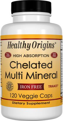 Suplementos, Minerales, Minerales Múltiples Healthy Origins, Chelated Multi Mineral, Iron Free, 120 Veggie Caps