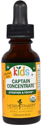 Salud Para Niños, Remedios Herbales Para Niños Herb Pharm, Kids Captain Concentrate, Alcohol Free, 1 fl oz (30 ml)