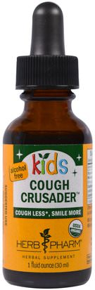 Salud Para Niños, Remedios Herbales Para Niños Herb Pharm, Organic Kids Cough Crusader, Alcohol Free, 1 fl oz (30 ml)