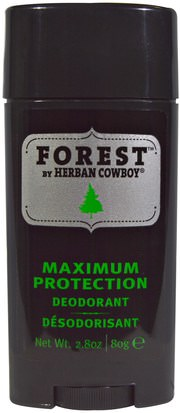 Baño, Belleza, Desodorante Herban Cowboy, Forest, Maximum Protection Deodorant, 2.8 oz (80 g)