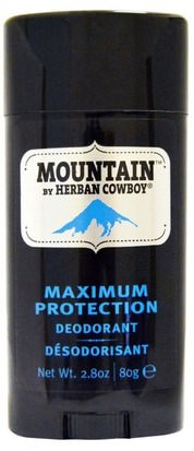 Baño, Belleza, Desodorante Herban Cowboy, Maximum Protection Deodorant, Mountain, 2.8 oz (80 g)