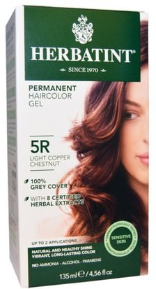 Baño, Belleza, Cabello, Cuero Cabelludo, Color De Cabello Herbatint, Permanent Haircolor Gel, 5R Light Copper Chestnut, 4.56 fl oz (135 ml)