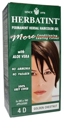 España Herbatint, Permanent Herbal Haircolor Gel, 4D Golden Chestnut, 4.56 fl oz (135 ml)