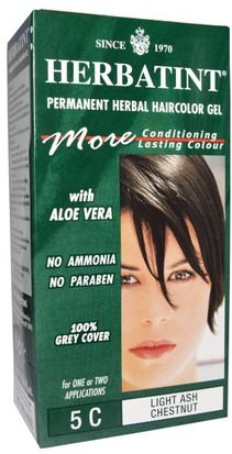 Baño, Belleza, Cabello, Cuero Cabelludo, Color De Cabello, Ceniza Herbatint Herbatint, Permanent Herbal Haircolor Gel, 5C, Light Ash Chestnut, 4.56 fl oz (135 ml)