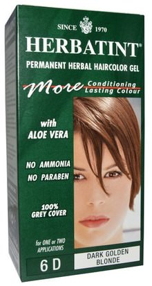 España Herbatint, Permanent Herbal Haircolor Gel, 6D, Dark Golden Blonde, 4.56 fl oz (135 ml)