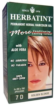 España Herbatint, Permanent Herbal Haircolor Gel, 7D, Golden Blonde, 4.56 fl oz (135 ml)