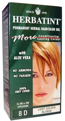 España Herbatint, Permanent Herbal Haircolor Gel, 8D, Light Golden Blonde, 4.56 fl oz (135 ml)