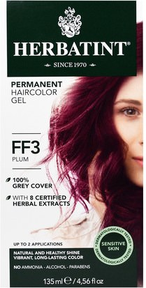 Herbatint Flash Moda Herbatint, Permanent Herbal Haircolor Gel, FF 3, Plum, 4.56 fl oz (135 ml)
