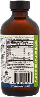 Amazing Herbs, Black Seed, Flax Seed, Cold-Pressed Oil Blend, 8 fl. oz (240 ml) Hierbas, Semilla Negra, Efa Omega 3 6 9 (Epa Dha), Aceite De Lino Líquido