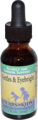 Salud, Alergias, Alergia, Hierbas, Ortigas, Picadura, Raíz De Ortiga Herbs for Kids, Nettle & Eyebright, 1 fl oz (30 ml)