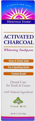 Baño, Belleza, Pasta De Dientes, Cuidado Dental Bucal, Blanqueamiento Dental Heritage Stores, Activated Charcoal Whitening Toothpaste, Fresh Mint, 5.1 oz (145 g)
