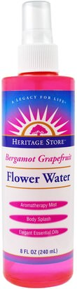 Baño, Belleza, Aerosoles De Fragancias Heritage Stores, Bergamot Grapefruit, Flower Water, 8 fl oz (240 ml)