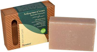 Suplementos, Antioxidantes, Curcumina, Baño, Belleza, Jabón Himalaya Herbal Healthcare, Botanique, Handcrafted Cleansing Bar, Purifying Neem & Turmeric, 4.41 oz (125 g)