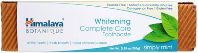 Baño, Belleza, Pasta De Dientes Himalaya Herbal Healthcare, Botanique, Whitening Complete Care Toothpaste, Simply Mint, 5.29 oz (150 g)