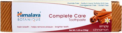 Baño, Belleza, Pasta De Dientes Himalaya Herbal Healthcare, Botanique, Complete Care Toothpaste, Simply Cinnamon, 5.29 oz (150 g)
