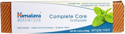 Baño, Belleza, Pasta De Dientes Himalaya Herbal Healthcare, Botanique, Complete Care Toothpaste, Simply Mint, 5.29 oz (150 g)