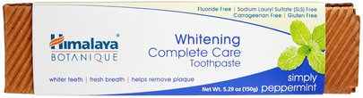 Baño, Belleza, Pasta De Dientes Himalaya Herbal Healthcare, Botanique, Whitening Complete Care Toothpaste, Simply Peppermint, 5.29 oz (150 g)