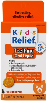 Suplementos, Homeopatía, Dentición Del Bebé Homeolab USA, Kids Relief, Teething, Orange Flavor, 0.85 fl oz (25 ml)