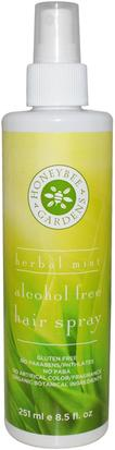 Baño, Belleza, Cabello, Cuero Cabelludo, Laca Para El Cabello Natural Honeybee Gardens, Alcohol Free Hair Spray, Herbal Mint, 8.5 fl oz (251 ml)
