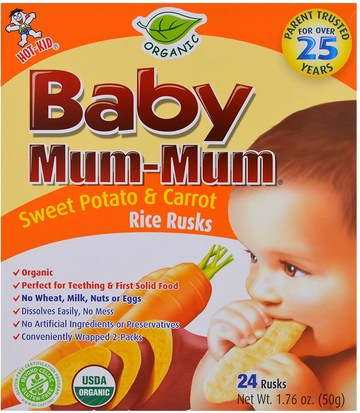 Salud De Los Niños, Alimentación Del Bebé, Refrigerios Y Aperitivos Para Bebés, Galletas Para Hornear Galletas, Alimentos Para Niños Hot Kid, Baby Mum-Mum, Organic Sweet Potato & Carrot Rice Rusks, 24 Rusks, 1.76 oz (50 g) Each