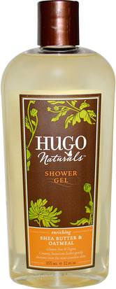 Baño, Belleza, Gel De Ducha Hugo Naturals, Shower Gel, Shea Butter & Oatmeal, 12 fl oz (355 ml)