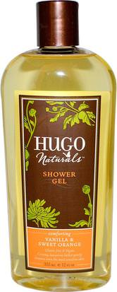 Baño, Belleza, Gel De Ducha Hugo Naturals, Shower Gel, Vanilla & Sweet Orange, 12 fl oz (355 ml)